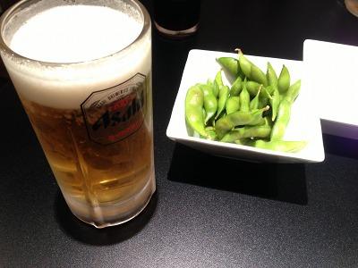 ビールとお通し@ホルモンしろ新丸子