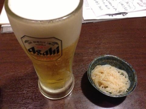 やきとん_ビール